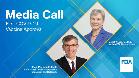 Media Call - First COVID-19 Vaccine Approval. Janet Woodcock, M.D., Acting FDA Commissioner. Peter Marks, M.D., Ph.D., Director, FDA CBER.