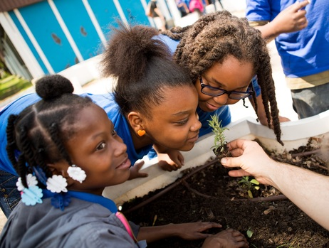 Girls sniffing plant Chicago Public Schools