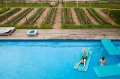 Pool next to garden