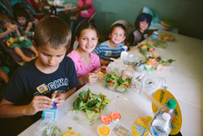 Children eating summer meals