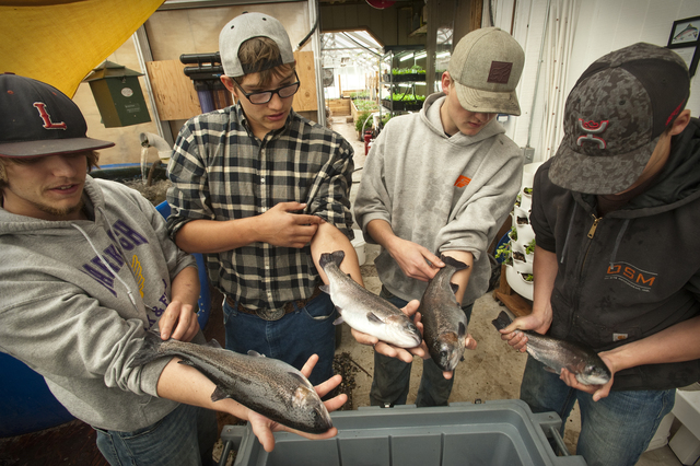 Students hold trout
