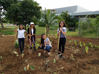 Girls in school garden