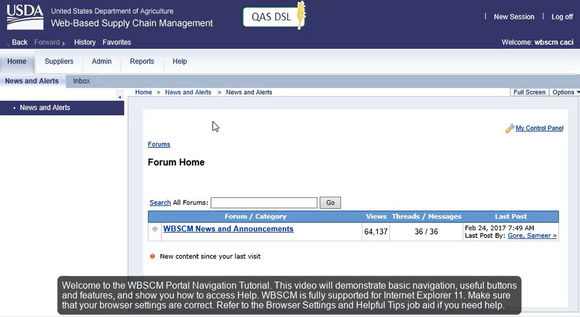 WBSCM Portal Navigation Tutorial