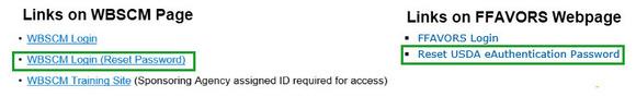 eAuth Password Links