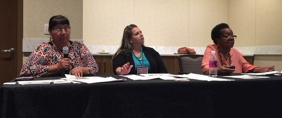 Florence Calabaza, Carmen Robertson, and Akua White present session about FDPIR food package and nutrition education