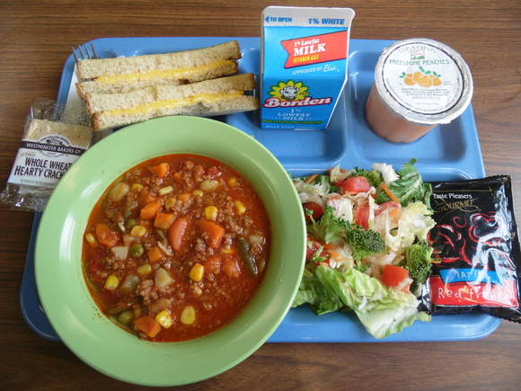 Beef Vegetable Soup, Grilled Cheese, Salad, and Peaches Cup