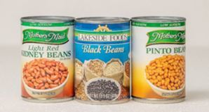 cans of kidney, black, and pinto beans