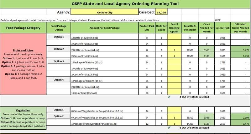 CSFP Food Package Order Planning Tool