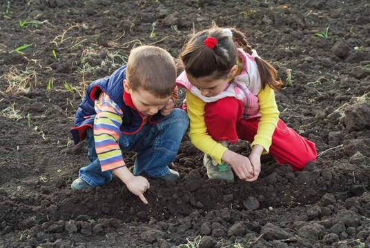 Boy and Girl Planting Seeds