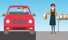 illustration of a parent  picking up school lunch in a drive-thru