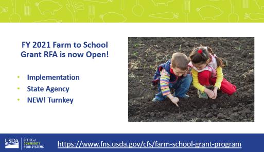FY 2021 Farm to School Grant RFA is open!