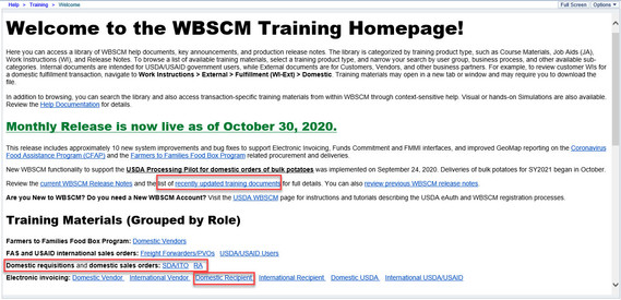 Figure 3: Training Homepage Announcements Example