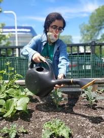 Girl working in garden