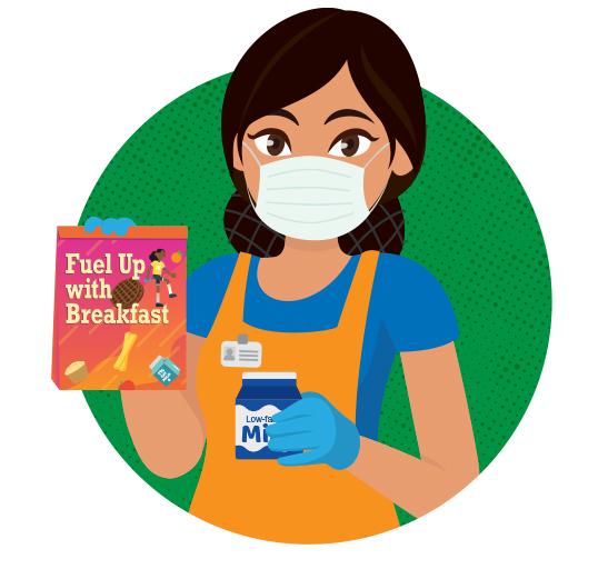 Illustration of school nutrition professional wearing a facemask and holding a lunch bag and milk carton