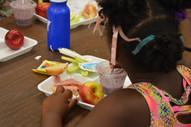 Girl eating meal