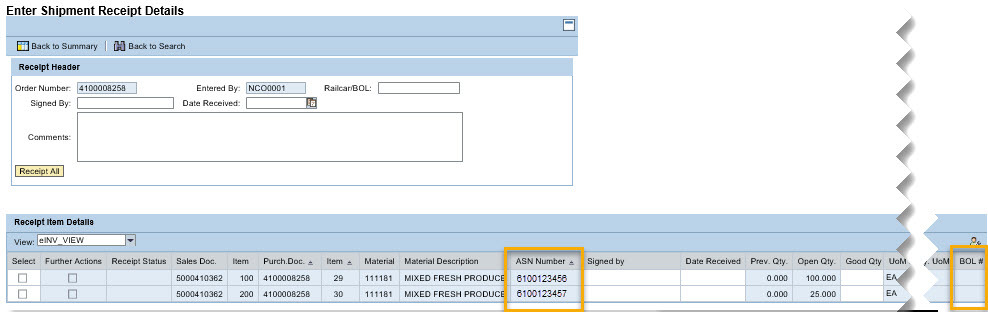 Shipment Receipts View with ASN