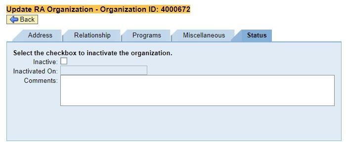 Inactivate Organization