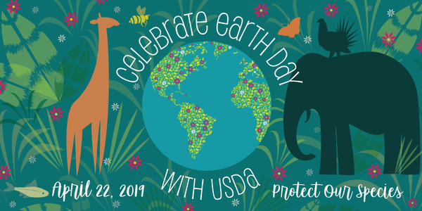 graphic of giraffe, elephant, and globe for Celebrating Earth Day 2019