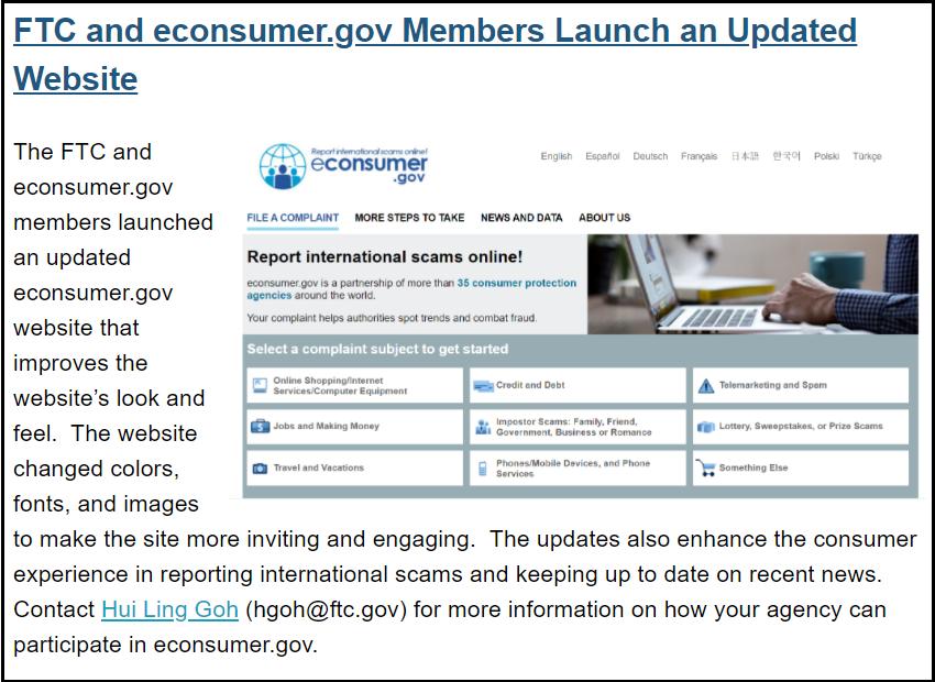 New econsumer.gov website