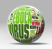 Ebola virus and other related terms written on a globe