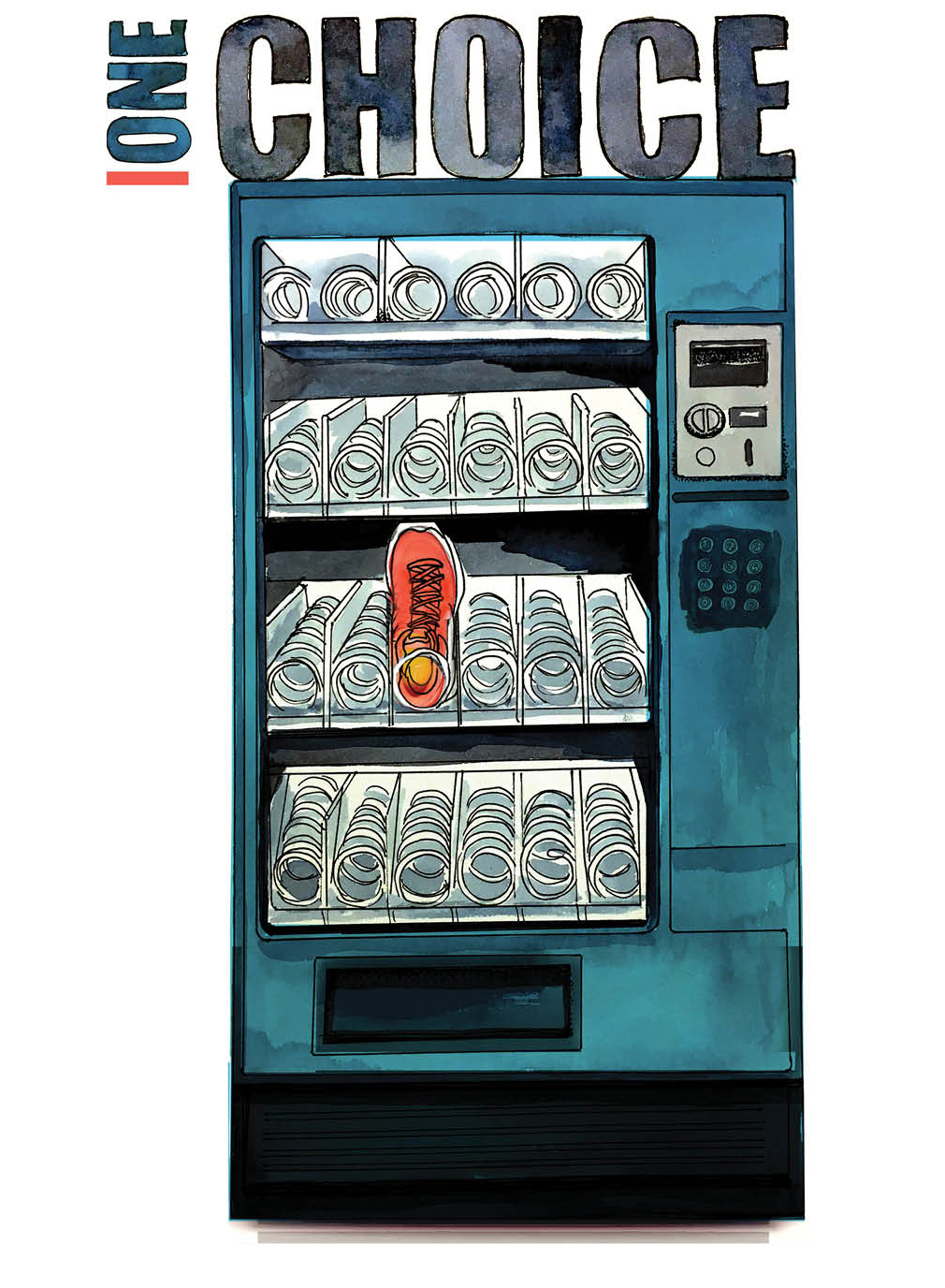 One Choice. Commit. Illustration of a vending machine with an athletic shoe as the only choice.