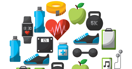 An array of fitness symbols.