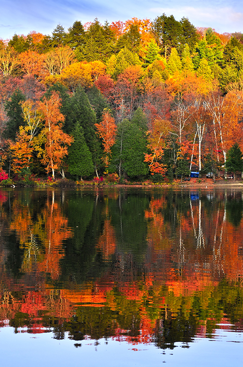 beautiful lake surrounded by fall foliage.