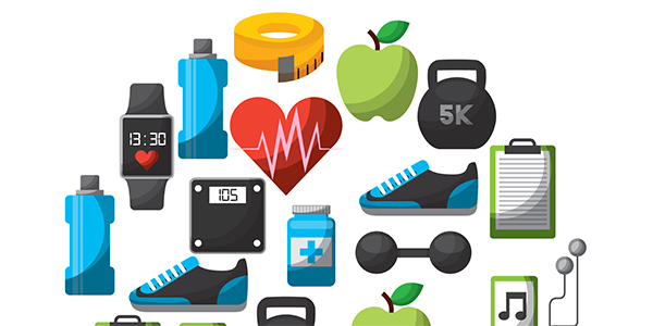 A medley of icons related to fitness.