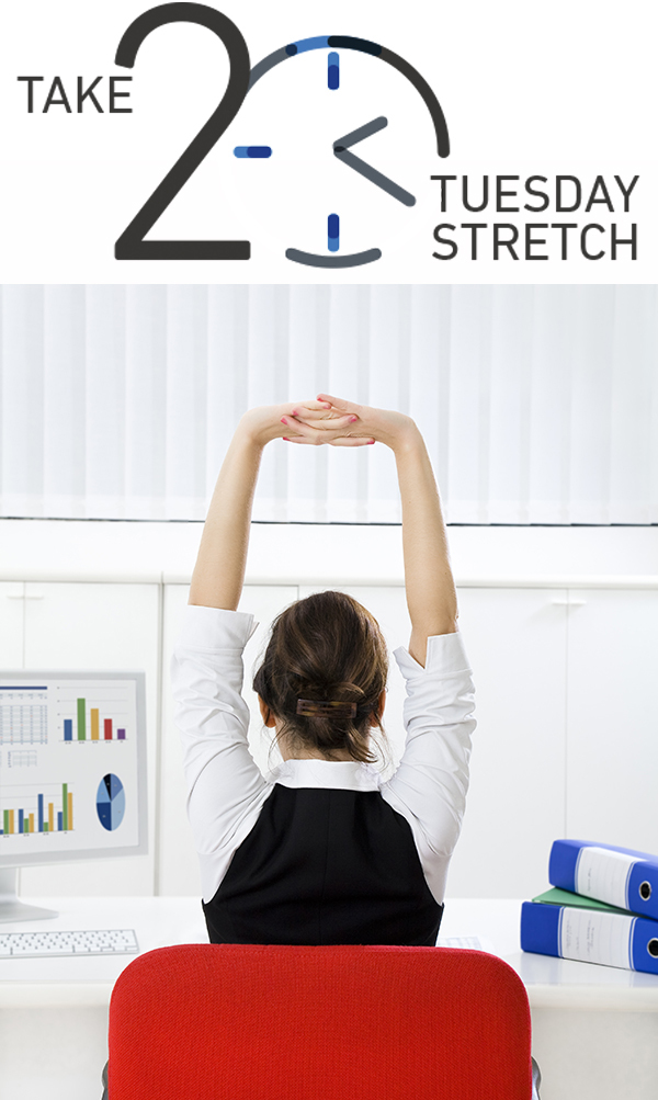 Take 20 Tuesday Stretch. Business woman stretching in her desk chair.