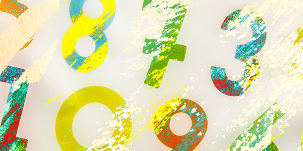 Colorful, abstract numbers.
