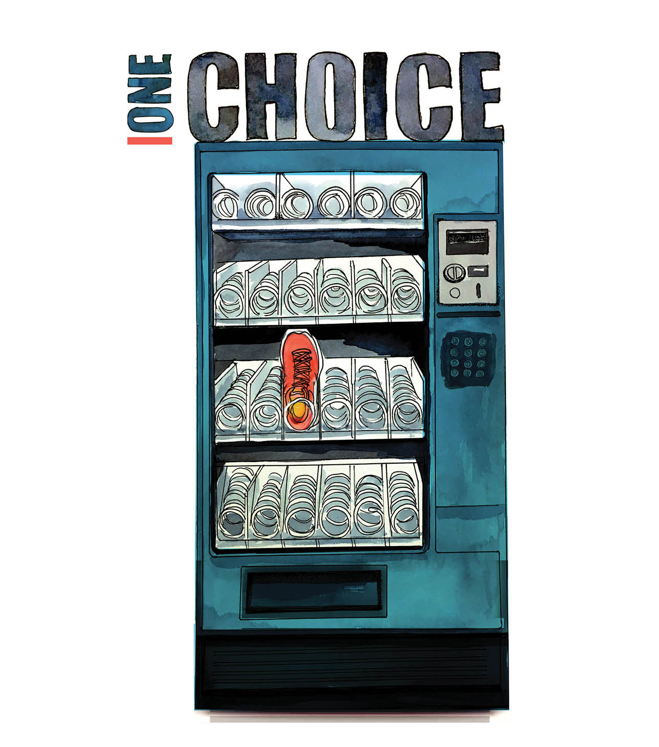 One Choice. An illustration of a vending machine with a sneaker as the only vending choice.
