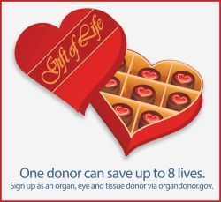National donor Day. One donor can save up to 8 lives. Sign up at organdonor.gov