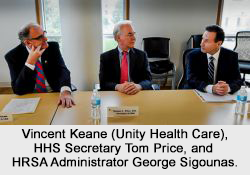 Unity Health Care President and CEO Vincent Keane (left) met with HHS Secretary Tom Price and HRSA Administrator George Sigounas