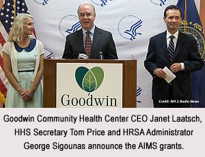 Goodwin Community Health Center CEO Janet Laatsch, HHS Secretary Tom Price, and HRSA Administrator George Sigounas.