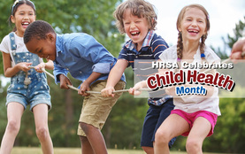 Child Health Month Thunderclap campaign - photo of children playing tug of war