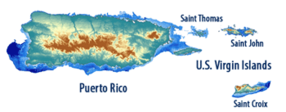 Map of Puerto Rico and the U.S. Virgin Islands