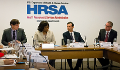 HRSA Administrator Dr. George Sigounas, Principal Deputy Brian LeClair, with Dr. Carissa Etienne, and Dr. James Fitzpatrick of PAHO