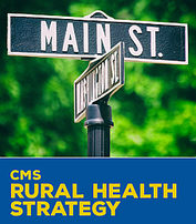Thumbnail image of the CMS Rural Health Strategy, showing a street sign of Main Street and Washington Street