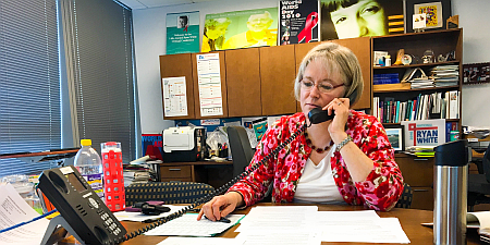 Dr. Laura Cheever, HAB Associate Administrator, on the phone