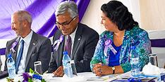 HAB's George Tidwell and Myat Htoo Razak with U.S. Ambassador Maria Brewer
