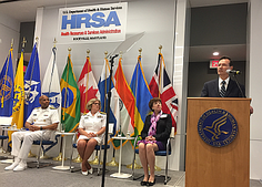 Dr. Sigounas speaking at the HRSA Maternal Mortality Summit