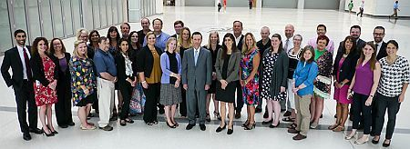 HRSA Administrator Dr. George Sigounas (center) with rural grantees