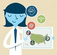 cartoon doctor holding a map of the U.S.