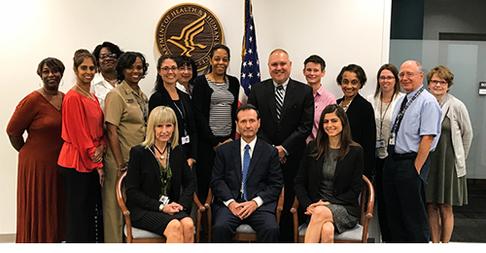 HRSA Administrator Dr. Sigounas, MS, Ph.D., Regional Administrator Pam Kania,  OA Policy Advisor Carla Haddad, and Philadelphia Regional Office staff
