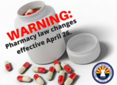photo of a pill bottle labeled warning: pharmacy law changes effective April 26