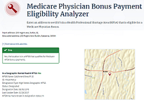 medicare physician bonus payment eligibility analyzer screenshot