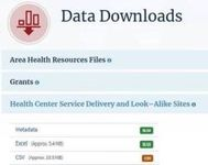 screen capture of the hrsa data downloads page