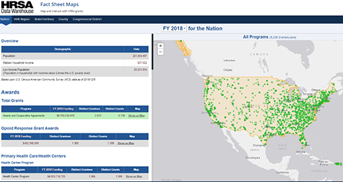 screen capture of a fact sheet data map from data.hrsa.gov