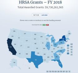 screenshot of the interactive map on data.hrsa.gov