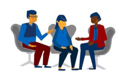 clipart of three people having a discussion